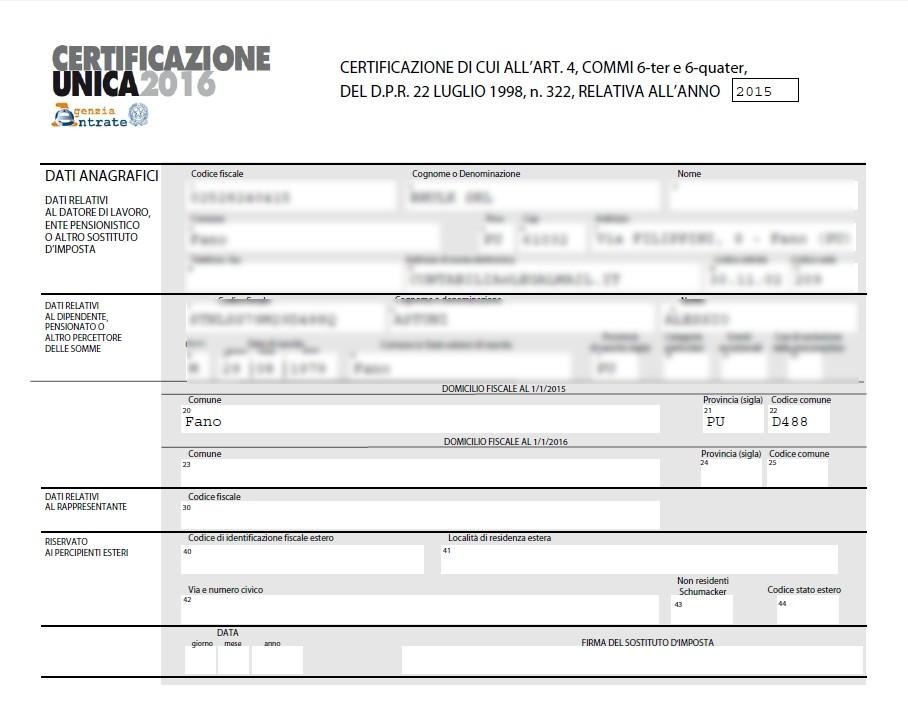 Certificazione Unica – Istruzioni